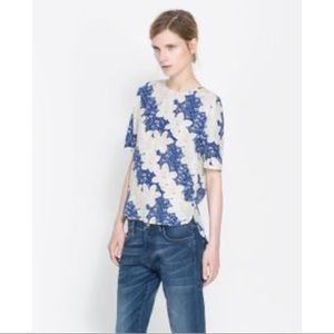Zara Floral Button Down Back Top Size Small